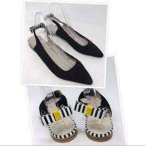 Boden Daniella Black Slingback Bow Flats Shoes